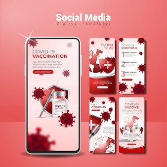 Realistische covid-19 vaccinatie social media verhalen sjabloon