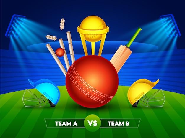Realistische cricketuitrusting met golden trophy cup en twee helm van deelnemers team a & b op glanzende stadionachtergrond voor cricket championship.