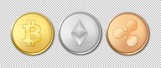 Realistische crypto valuta munt pictogramserie. bitcoin, etherium, ripple. blockchain-technologie. close-up op de achtergrond van het transparantieraster. sjabloon voor afbeeldingen. bovenaanzicht