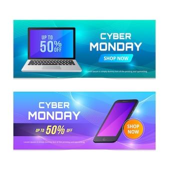 Realistische cyber maandag banners sjabloon