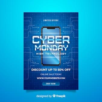 Realistische cyber maandag folder sjabloon