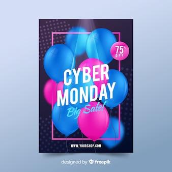 Realistische cyber maandag poster sjabloon