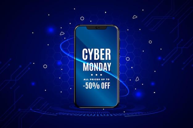 Realistische cyber maandag verkoop achtergrond