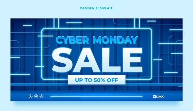 Realistische cyber maandag verkoop horizontale banner