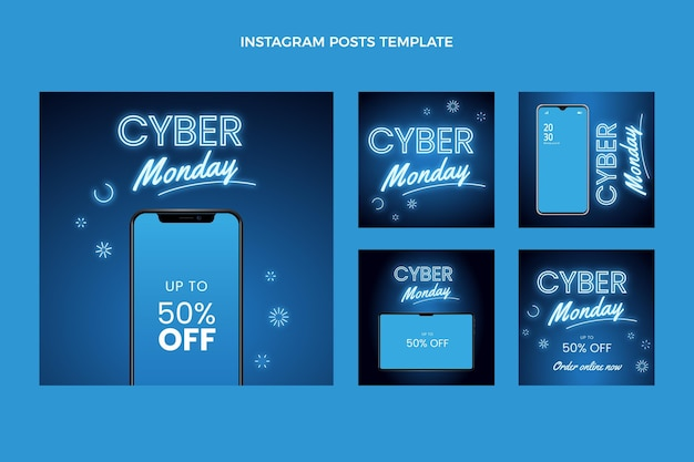 Realistische cyber monday instagram posts collectie