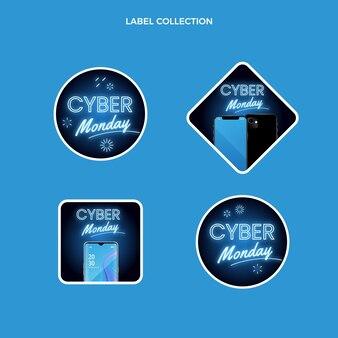 Realistische cyber monday-labelscollectie