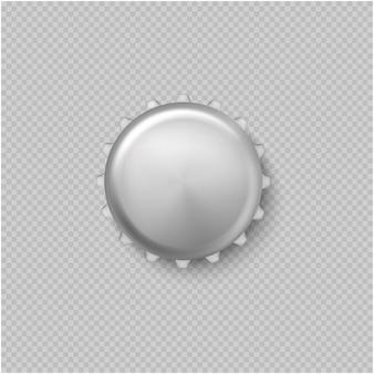 Realistische d lege metalen kroonkurk voor reclame voor een vectorillustratie