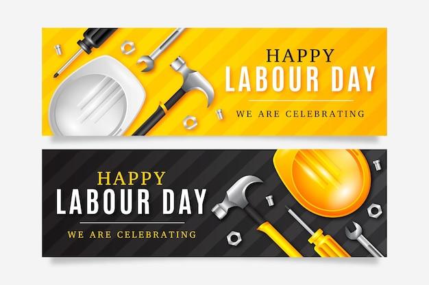 Realistische dag van de arbeid banner set