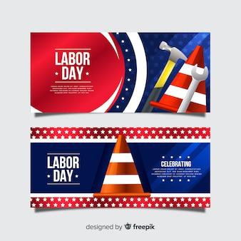 Realistische dag van de arbeid banners sjabloon