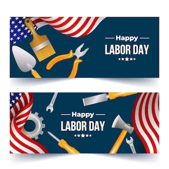 Realistische dag van de arbeid horizontale banners set