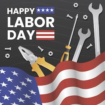 Realistische dag van de arbeid met amerikaanse vlag