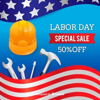 Realistische dag van de arbeid verkoop achtergrond