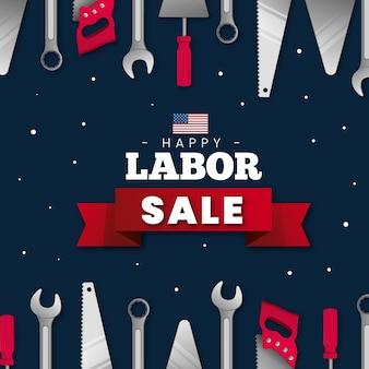 Realistische dag van de arbeid vierkante verkoop banner