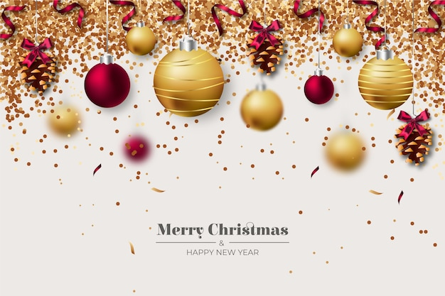 Realistische decoratie kerstmis achtergrond