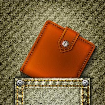 Realistische denim met portemonnee in zak