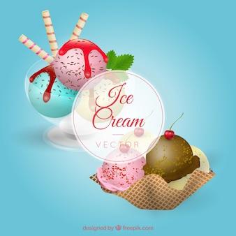 Realistische desserts met ijs