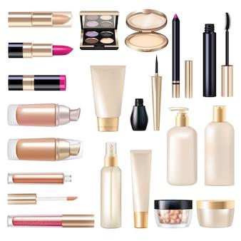 Realistische die punten super van de make-up met mascara en poeder geïsoleerde vectorillustratie worden geplaatst