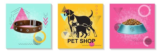 Realistische dierenverzorging kaarten collectie met kat halsband kom vol met voedsel op kleurrijke trendy geometrische achtergronden geïsoleerde illustratie
