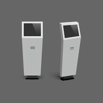 Realistische digitale interactieve informatiekiosken die op grijze achtergrond worden geïsoleerd.