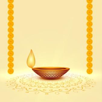 Realistische diwali festival diya achtergrond met tekst ruimte