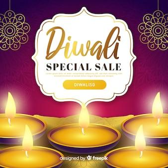 Realistische diwali speciale verkoopaanbieding en kaarsen