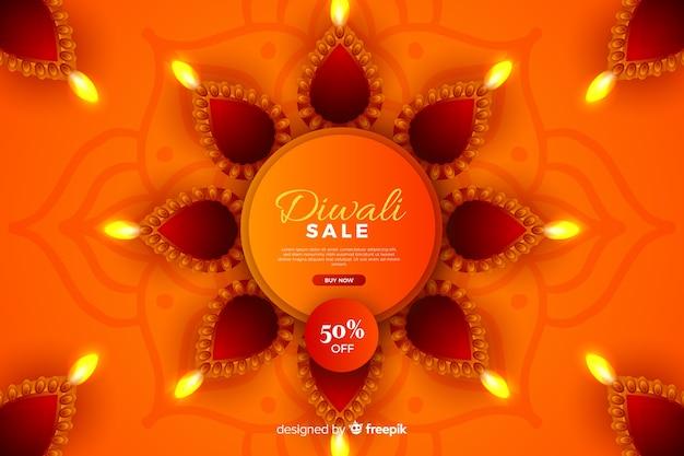 Realistische diwali-verkoop met korting