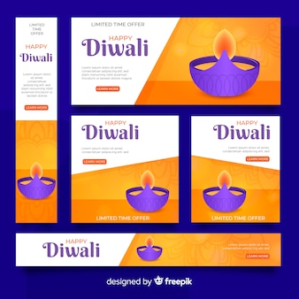 Realistische diwali-webbanners met kaars in een kom