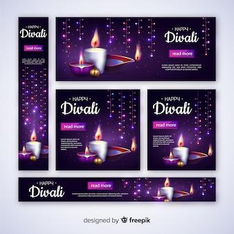 Realistische diwali-webbanners met kaarsen