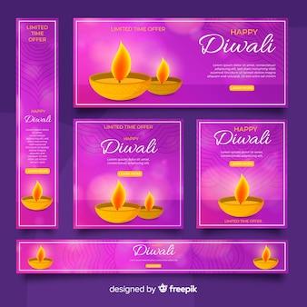 Realistische diwali-webbanners