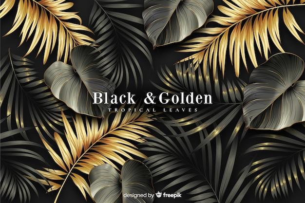Realistische donkere en gouden bladeren achtergrond