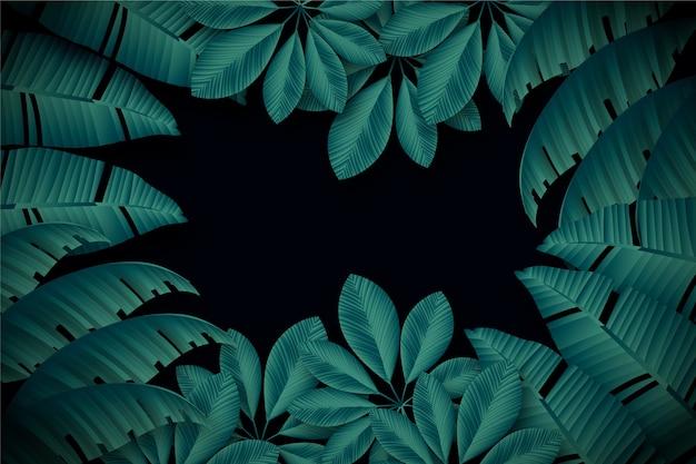Realistische donkere tropische bladerenachtergrond