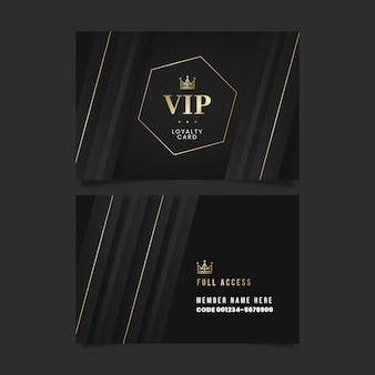 Realistische donkere vip-kaartsjabloon met gouden details