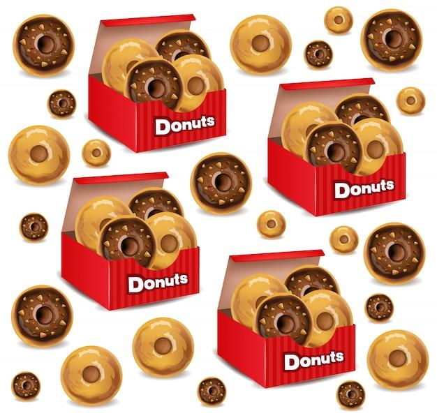 Realistische donuts vak patroon