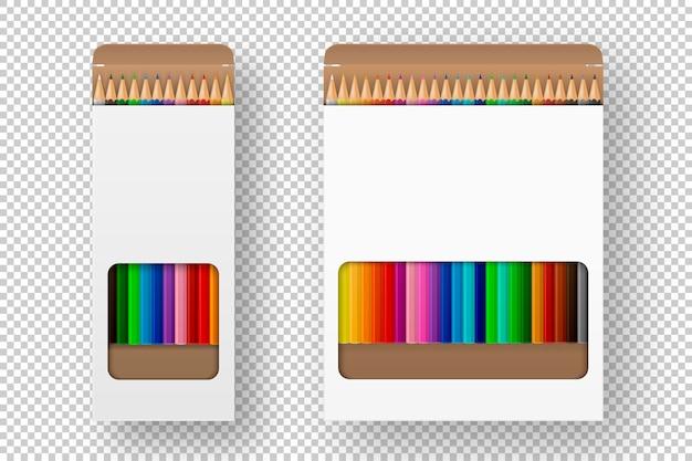 Realistische doos met kleurpotloden icon set close-up geïsoleerd op een witte achtergrond.