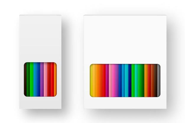 Realistische doos van gekleurde potloden icon set close-up geïsoleerd