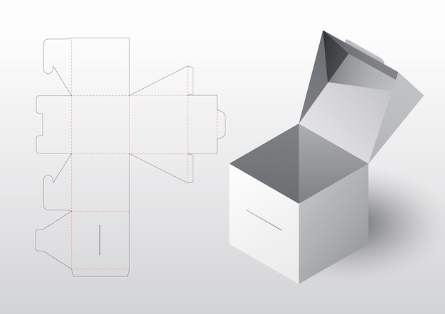 Realistische doosverpakking gestanst sjabloon