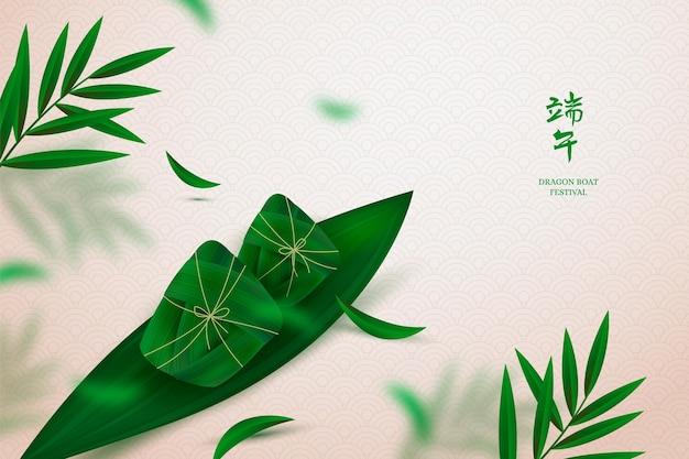 Realistische dragon boat zongzi-achtergrond