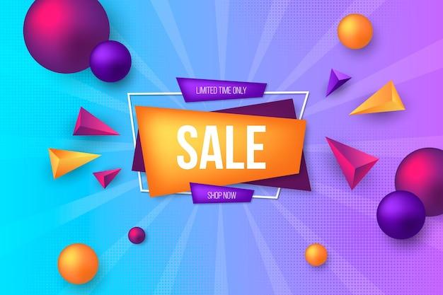 Realistische driedimensionale verkoopachtergrond