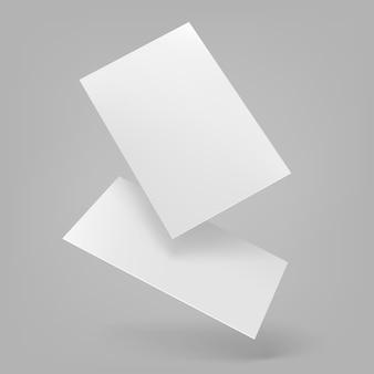 Realistische drijvende merkkaarten voor bedrijven met schaduwen.