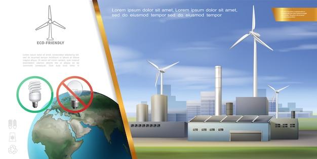 Realistische ecologie energie sjabloon met schone aarde planeet energiebesparende lamp windmolens en eco fabriek illustratie