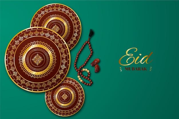 Realistische eid al-fitr-illustratie Gratis Vector