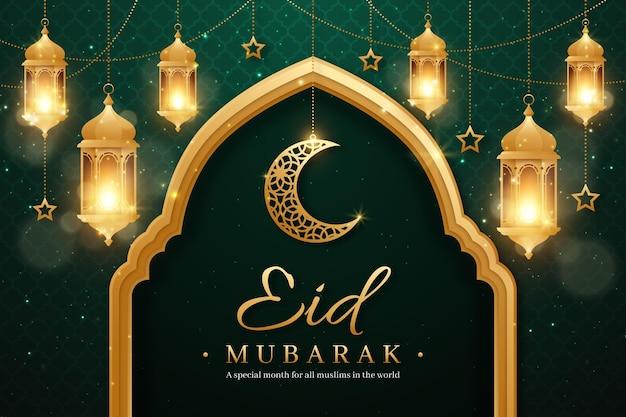 Realistische eid mubarak-achtergrond met kaarsen en maan