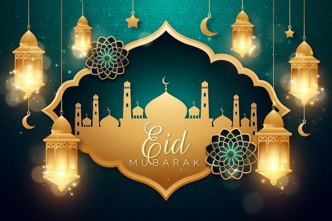 Realistische eid mubarak-achtergrond met kaarsen en moskee