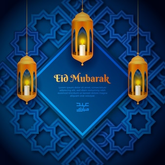 Realistische eid mubarak met hangende kaarsen