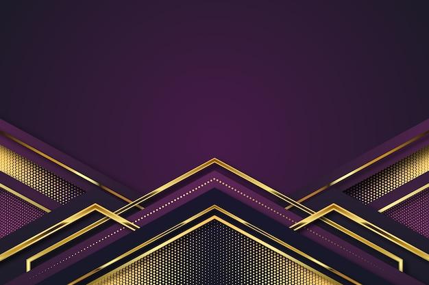 Realistische elegante geometrische vormenachtergrond in gouden en violet