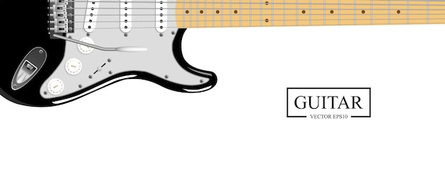 Realistische elektrische gitaar die op witte achtergrond wordt geïsoleerd