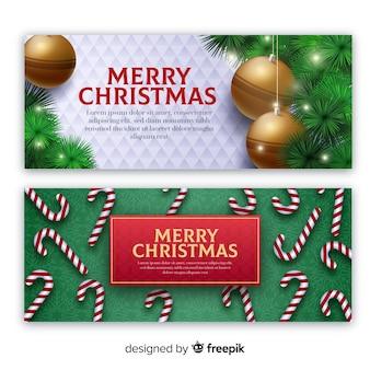 Realistische elementen kerstmis spandoeksjabloon