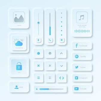 Realistische elementen van de gebruikersinterface van het neumorfische ontwerp