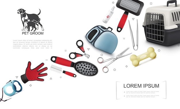 Realistische elementen voor het verzorgen van huisdieren die met honden- en kattendragers botten kammen borstel clipper schaar dier shampoo handschoen leiband illustratie