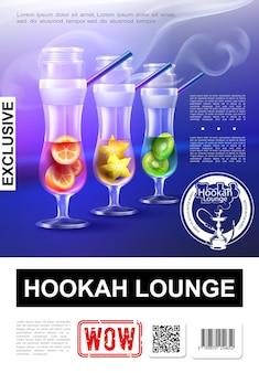 Realistische elite hookah bar-poster met exclusieve stoompijp in glazen met illustratie van oranje kiwi en steranijs